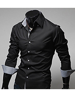 Men's Going out Casual/Daily Work Street chic All Seasons Shirt,Color Block Classic Collar Long Sleeves Polyester