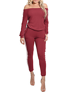 Women's Going out Casual/Daily Club Holiday Simple Sexy Solid Boat Neck Jumpsuits,Slim Long Sleeve Fall Polyster