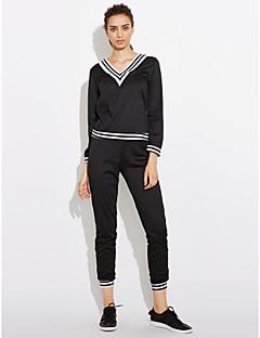 tanie Damskie bluzy z kapturem-Damskie Na co dzień Sportowe Bawełna Sukienka - Solid Color Naszywka