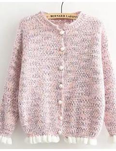 baratos Suéteres de Mulher-Mulheres Moda de Rua Manga Longa Algodão Longo Carregam - Sólido Algodão