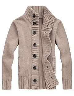 tanie Męskie swetry i swetry rozpinane-Męskie Praca Vintage Aktywny Kołnierzyk koszuli Rozpinany Jendolity kolor