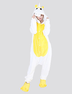 billige Kigurumi-Voksne Kigurumi-pysjamas Enhjørning Onesie-pysjamas Flannelstoff Blå / Rosa / Gul Cosplay Til Damer og Herrer Pysjamas med dyremotiv Tegnefilm Festival / høytid kostymer