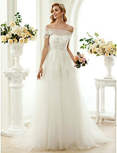 A-Line Princess Off-the-shoulder Sweep / Brush Train Lace Tulle Wedding Dress with Beading Appliques by LAN TING BRIDE®