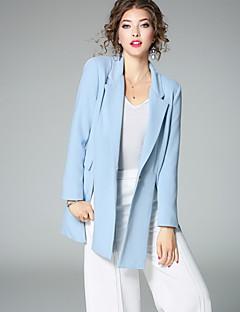 Polyester Normal Langermet,Skjortekrage Dress Ensfarget Høst Gatemote Arbeid Dame