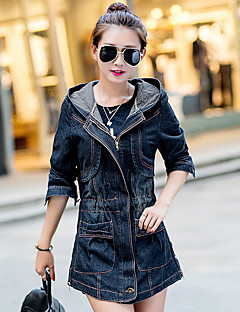 Women's Daily Simple Casual Spring Denim Jacket,Solid Square Neck Long Sleeve Regular Cotton