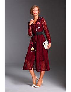 Kadın Dışarı Çıkma Günlük/Sade Sokak Şıklığı Dantel Elbise Nakışlı,Uzun Kollu V Yaka Midi Polyester Bahar Yaz Normal Bel Mikro-Esnek Orta