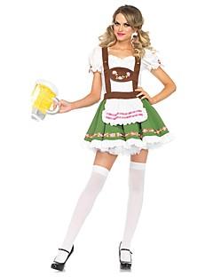 billige Halloweenkostymer-Stuepike Kostumer bayerske Oktoberfest Cosplay Kostumer Drakter Dame Voksne Oktoberfest Festival / høytid Halloween-kostymer Grønn Vintage