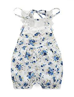baratos Conforto e Praticidade na Hora de Vestir-bebê Para Meninas Floral Floral / Rendas Estampado Sem Manga 100% Algodão Peça Única Azul