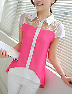 Women's Casual/Daily Simple Shirt,Color Block Shirt Collar Short Sleeves Polyester