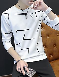 Miehet Pitkähihainen Pyöreä kaula-aukko Polyesteri Spandex Yksinkertainen Bile Rento/arki T-paita,Color Block