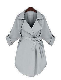 Dames Eenvoudig Verfijnd Herfst Winter Cloak / Capes,Casual/Dagelijks Werk Effen Puntige revers Lange mouw Lang Katoen
