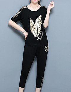 Women's Going out Casual/Daily Simple Vintage Chinoiserie Summer T-shirt Pant Suits,Botanical Round Neck Short Sleeve