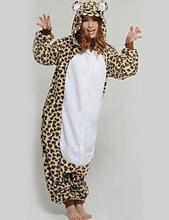 billige Kigurumi-Voksne Kigurumi-pysjamas Leopard Onesie-pysjamas Flanellette Beige Cosplay Til Damer og Herrer Pysjamas med dyremotiv Tegnefilm Halloween Festival / høytid