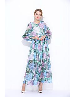 Χαμηλού Κόστους Φορέματα-Γυναικεία Χαριτωμένο Φαρδιά Θήκη Φόρεμα - Φλοράλ Μακρύ