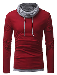 Men's Casual/Daily Plus Size Simple Street chic Fall T-shirt,Color Block Turtleneck Long Sleeves Polyester Medium
