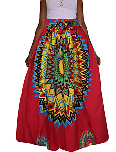 Women's Daily Going out Holiday Maxi Skirts,Vintage Sexy Boho Swing Polyester Print Spring Fall