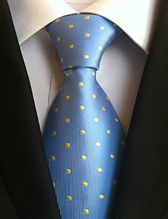 Men's Polyster Neck Tie,Neckwear Polka Dot All Seasons Light Blue