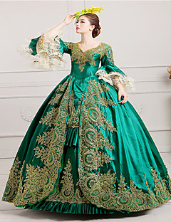 cheap Lolita Dresses-Vintage Victorian Rococo Costume Women's Dress Masquerade Party Costume Green Vintage Cosplay Lace Satin Long Sleeves Poet Long Length