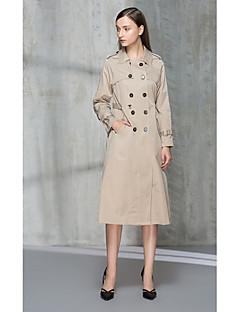 Dames Eenvoudig Herfst Winter Trenchcoat,Uitgaan Effen Overhemdkraag Lange mouw Lang Polyester