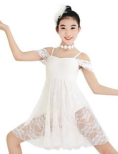 Balet Šaty Dámské Dětské Taneční vystoupení Elastický elastan Krajka Lycra Plisované Flitry Bez rukávů Přírodní Šaty Vlasové ozdoby