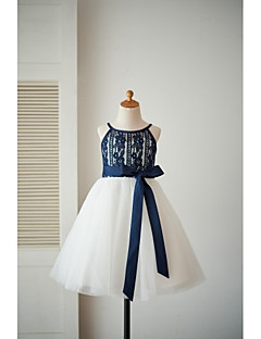 A-Line Knee Length Flower Girl Dress - Lace Tulle Sleeveless Spaghetti Straps with Sash / Ribbon by LAN TING BRIDE®