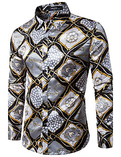 Men's Party Club Vintage Sexy Spring Fall Shirt,Print Shirt Collar Long Sleeves Cotton Medium