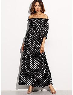 abordables Robes pour Femme-Femme Vacances Gaine Robe Points Polka Taille Haute Bateau Maxi Noir