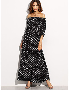 cheap Women's Dresses-Women's Holiday Sheath Dress - Polka Dot Black High Rise Maxi Boat Neck