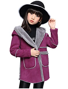 Girls' Floral Jacket & Coat,Polyester Winter All Seasons Long Sleeve Dresswear Red Blushing Pink Purple