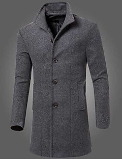 Men's Casual/Daily Simple Fall Winter Coat,Solid Peaked Lapel Long Sleeve Long Others