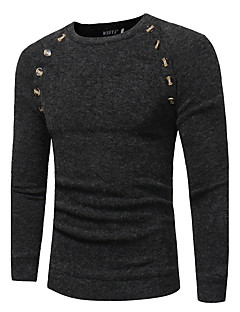 Men's Sports Plus Size Vintage Regular Pullover,Solid Round Neck Long Sleeves Rabbit Fur Cotton Fall Winter Medium Stretchy