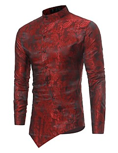Men's Casual/Daily Simple All Seasons Shirt,Floral Standing Collar Long Sleeves Polyester Opaque