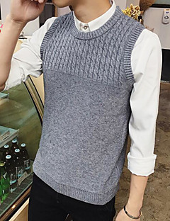 baratos Suéteres & Cardigans Masculinos-Homens Sem Manga Colete - Sólido