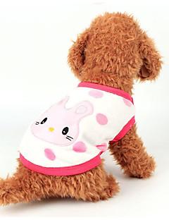 billiga Hundkläder-Hund Väst Hundkläder Tecknat Vit / Gul / Rosa Flanelltyg Kostym För husdjur Ledigt / vardag