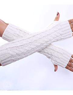 Dame Vinterhansker Albuelengde Halv Finger,Vår/Vinter Vinter Solid Akryl