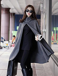 Damen Solide Einfach Lässig/Alltäglich Mantel,Mit Kapuze Herbst Winter Lange Ärmel Lang Andere