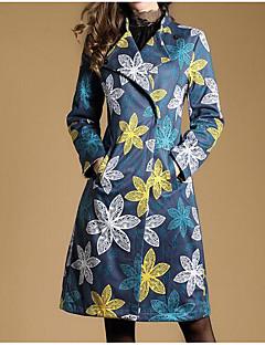 Damen Druck Einfach Ausgehen Lässig/Alltäglich Trench Coat,Steigendes Revers Herbst Lange Ärmel Lang Andere