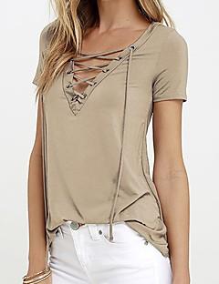 cheap -Women's Daily Casual Summer T-shirt,Solid V Neck Short Sleeves Polyester Medium