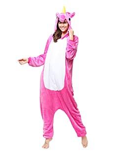 billige Kigurumi-Kigurumi-pysjamas Enhjørning Onesie-pysjamas Kostume Flanell Fleece Fuksia Cosplay Til Voksne Pysjamas med dyremotiv Tegnefilm Halloween