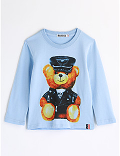 tanie Odzież dla chłopców-Bluzka Bawełna Dla chłopców Rysunek Jesień Długi rękaw Kreskówka Light Blue