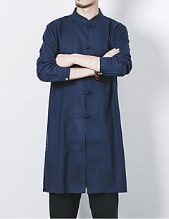 billige Plus Størrelser-Herre-Stående krave Herre - Ensfarvet Hør Kineseri Plusstørrelser Skjorte