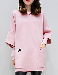 Women's Casual/Daily Sweatshirt Solid Round Neck Micro-elastic Cotton Polyester Long Sleeve Fall Winter
