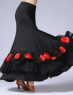 Latinské tance Spodní část oděvu Dámské Taneční vystoupení Tyl Süt Filtresi Plisované Jeden díl Přírodní Sukně
