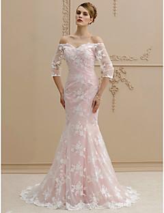 abordables Vestidos de Novia-Trompeta / Sirena Hombros Caídos Larga Encaje Vestidos de novia personalizados con Botones por LAN TING BRIDE®