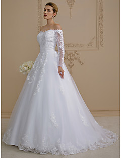 A Line Off The Shoulder Sweep Brush Train Lace Tulle Wedding Dress With Appliques By LAN TING BRIDER