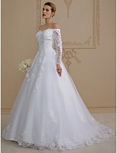 billiga A-linjeformade brudklänningar-A-linje Off shoulder Svepsläp Spets på tyll Bröllopsklänningar tillverkade med Applikationsbroderi av LAN TING BRIDE® / Illusion