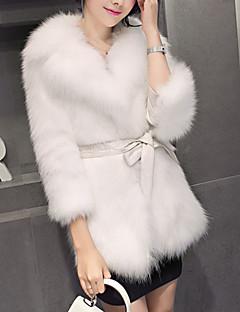 저렴한 -여성 솔리드 숄 라펠 긴 소매 모피 코트,단순한 캐쥬얼/데일리 보통 인조 모피 겨울 모피 트림