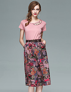 Women's Daily Going out Street chic Summer T-shirt Skirt Suits,Floral Round Neck Short Sleeve Beaded Polyester Inelastic