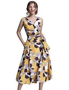 여성 A 라인 칼집 드레스 데이트 캐쥬얼/데일리 심플 스트리트 쉬크 컬러 블럭,V 넥 미디 민소매 면 여름 가을 높은 밑위 신축성 없음 중간