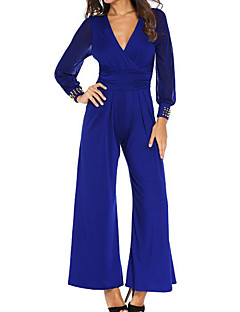 Women's Party Boho Solid V Neck Jumpsuits,Wide Leg Long Sleeve Spring Fall Others